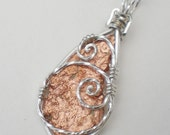 SALE (was 28.00) Arizona Copper Sterling Silver wire wrapped pendant