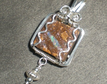 Koroit Boudler Opal Sterling silver wire wrapped pendant