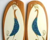 RESERVED Pair Of Peacocks. Vintage Wood Bird Art