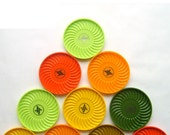 Citrus Colored Retro Coaster Set