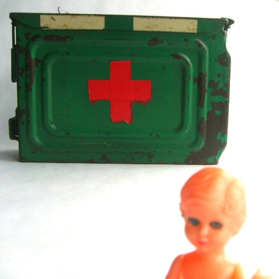 Bright Green Distressed Metal First Aid Box