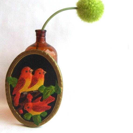 Three Little Birds Painted Chalkware Plaque