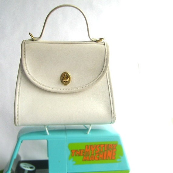 Vintage White Leather Coach Handbag
