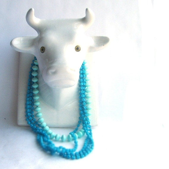 White Ceramic Cow Head Necklace or Towel Holder
