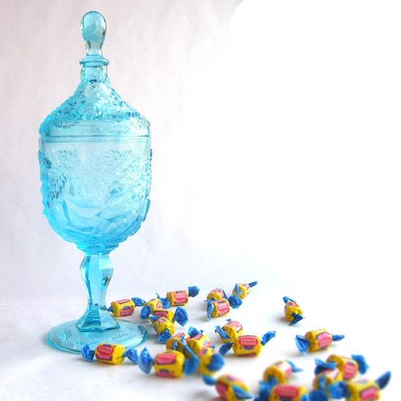 Ocean Blue Glass Apothecary Jar
