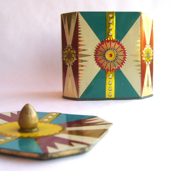 Mid Century Candy Tin With Cover