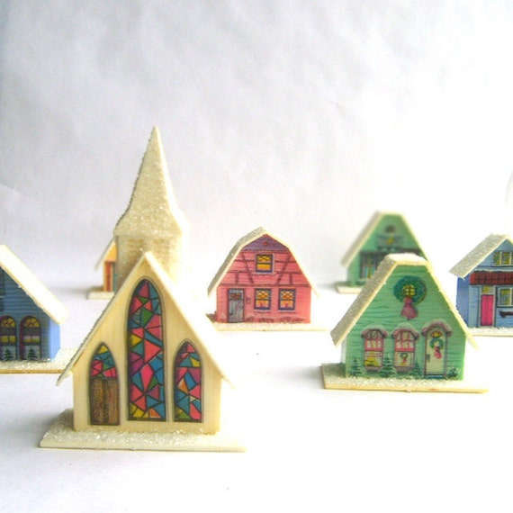 Miniature Holiday Village. Houses and Church