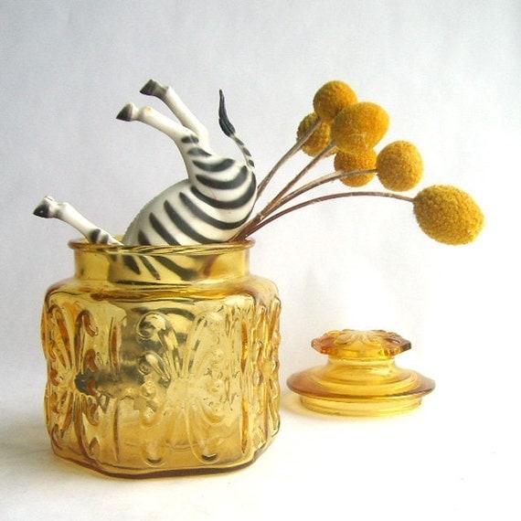 Amber Yellow Glass Apothecary Jar