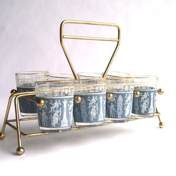 Mid Century Greek Patterned Shot Glass Set In Metal Caddy