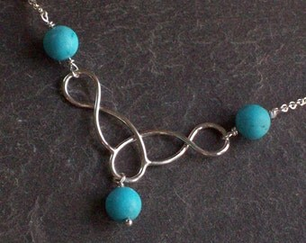 Joan Sterling Silver Necklace with Turquoise Stone Beads