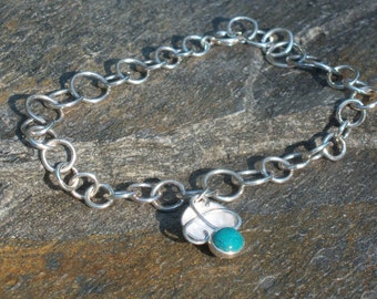 Hand-crafted Sterling Silver Bracelet with Swirled Dome Dangle