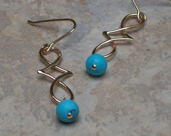 Handmade Gold Filled Michelle Earrings with Chalk Turquoise Beads
