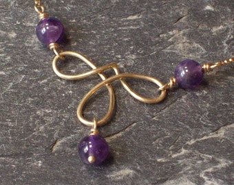 14K Gold Handmade Helen Necklace with Amethyst