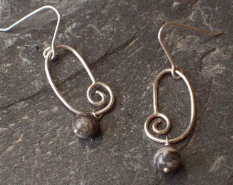 Handmade Andrea Sterling Silver and Picasso Jasper Earrings