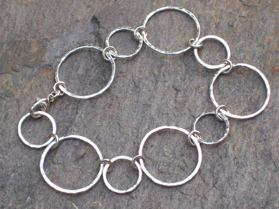 Hand-crafted Hammered Sterling Silver Bracelet with Large Bubble Links
