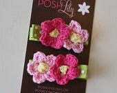 KYLIE Pink and Green Crochet Flower Hair Clips - Set of 2