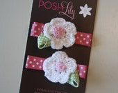 CALLIE Pink and White Crochet Flower Hair Clips - Set of 2