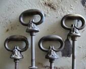 Vintage Set of 4 rustic hardware ..petite pulls