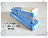 Vintage Bates Stapler ... Office Supply Blue and White So Chic