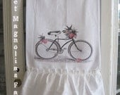 Flour Sack Kitchen Towel ...Shabby Cottage Garden Bicycle - Flower Basket - Birds...for your Home, Farmhouse or Cottage
