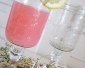 "2 Shabby Farmhouse Mason Jar Glasses ""Kerr""  Perfection for Lemonade, Sweet Tea, Water, Iced Tea, Ice Cold Milk"