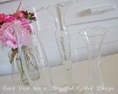 Vintage Glass Bud Vases - Etched Glass - Set of 3 - Gardeners Delight