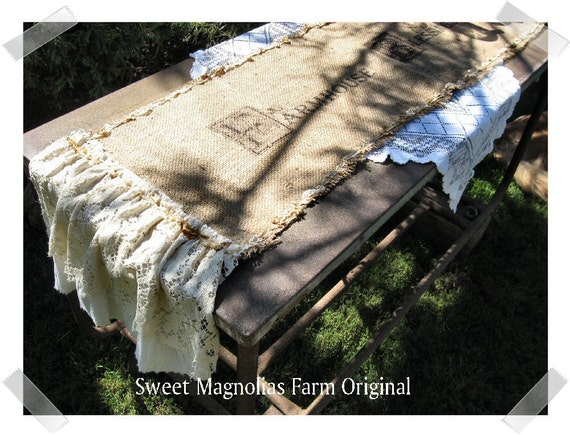 Burlap  Table Runner ... Customize with your own Sentiment, Saying, Scripture, Or Family Name