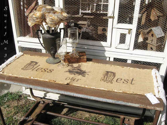 "Burlap and Lace Table Runner - ""Bless Our Nest"" - Vintage 1940s WWII Linen Burlap - Lace and Muslin Ruffles - Rustic Romance"