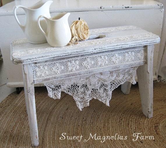Layaway 4 Soom6118 Shabby White Bench Stool Romantic Lace