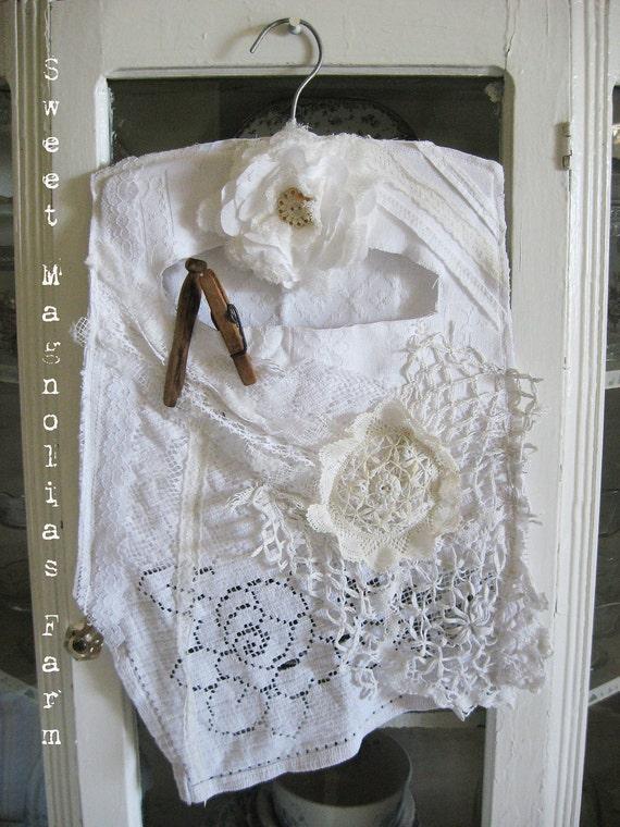 Vintage Lace Clothespin Bag  -Shabby Farmhouse Romance - So Cottage Chic - Vintage Lace