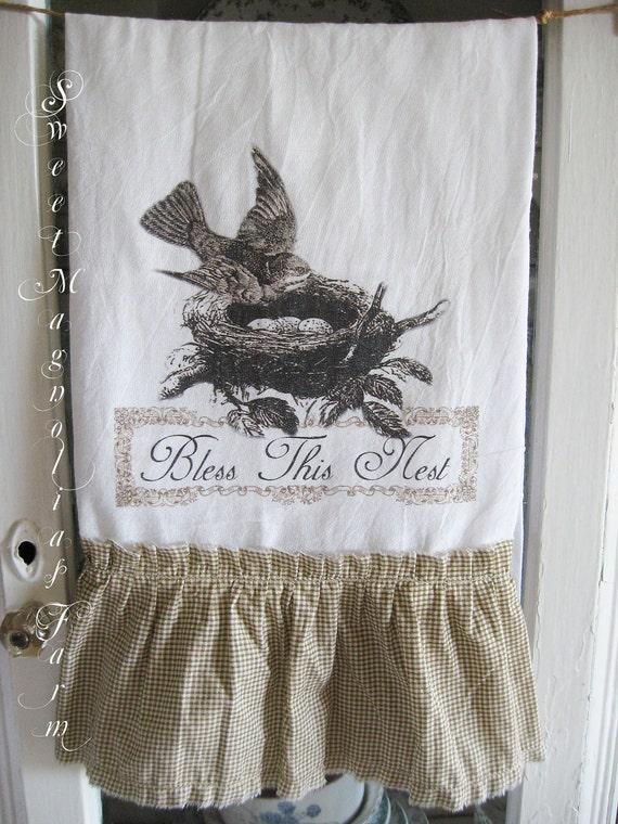 """Мука мешок кухонное полотенце ... """"Bless This гнездо"""" Птица в гнездо ... для вашего дома, сельский дом или коттедж"""