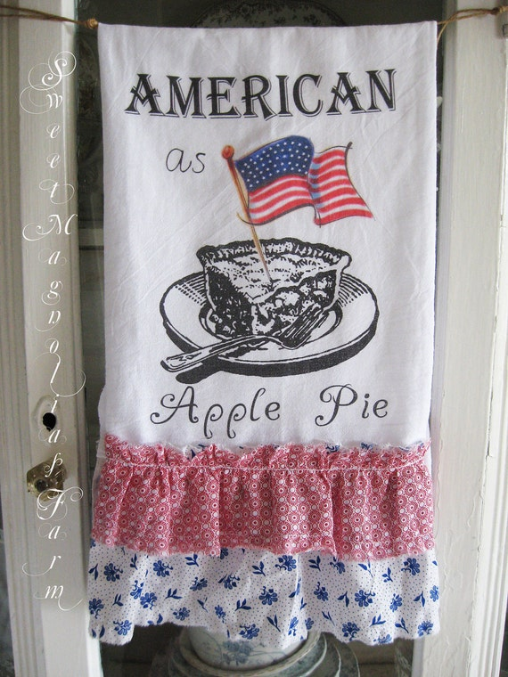 "Flour Sack Kitchen Towel .""American as Apple Pie"" Patriotic - 4th of July - Red White and Blue Ruffles - for your Home, Farmhouse or Cottage"