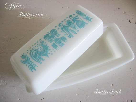 Vintage 1950s Pyrex Amish Butterprint - Covered Butter Dish - Milk Glass - Aqua and White - Farmhouse Kitschy Chic