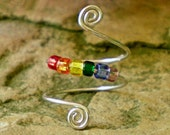 Funky and Unique Toe Swirls - Rainbow - Toe Ring