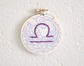 CLEARANCE - Libra Astrology, Fiber Art, Embroidery Ornament, Home Decor, Wall Art