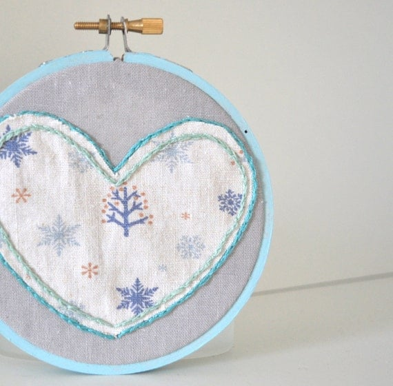 CLEARANCE - Blue Winter Heart Embroidery Ornament