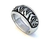 Safari Collection Zebra Domed Ring