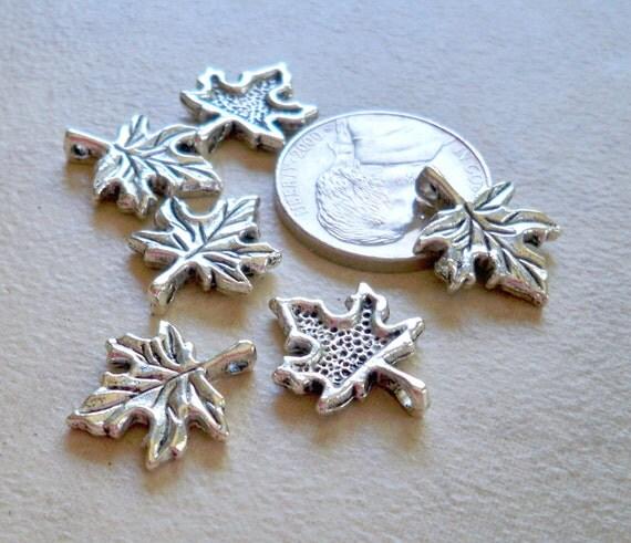Pretty Silver Maple Leaf Charms