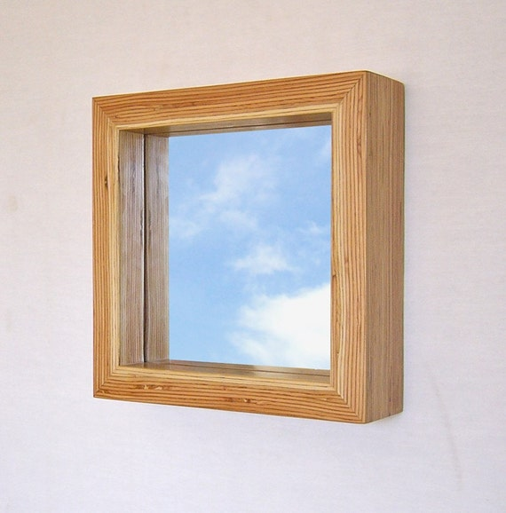 Modern wood framed mirror 11 inch square lvl frame for Small wood framed mirrors