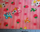 Pink bunny fabric with strawberries and birds from Japan Half Yard