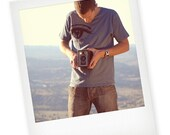 EYE Organic T-shirt designer mens (super soft light blue with black water based ink)