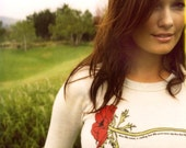 POPPY Recycled Eco Long Sleeve (red flower graphic on light ash shirt)