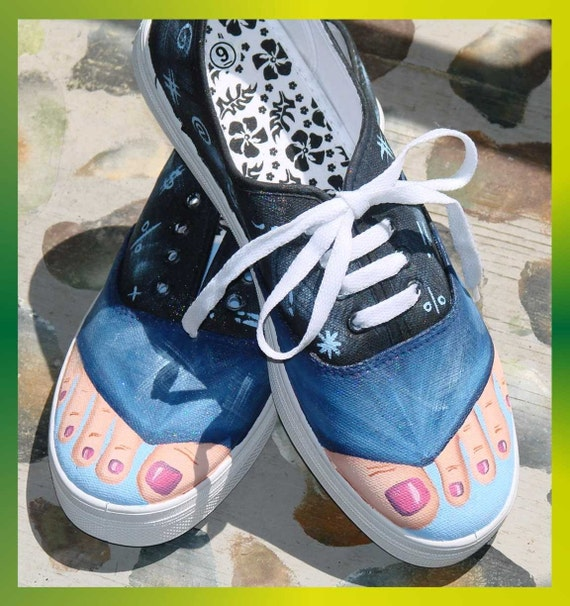 Hand Painted Canvas Tennis Shoes Feet Size 9 Free By