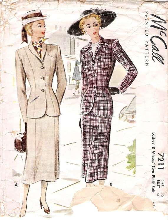 Stunning 1940 Vintage McCall's sewing pattern 7211 Womens Suit and Fitted Skirt Size 15 Bust 34
