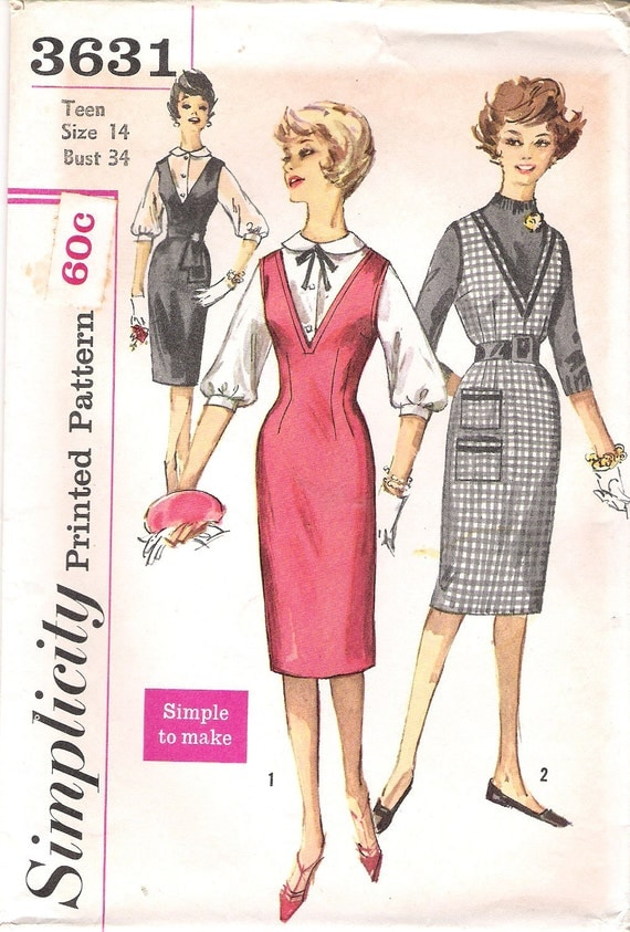 Vintage Simplicity Sewing Pattern 3631 1960's Mad Men Wiggle V Neck Jumper and Blouse Size 14