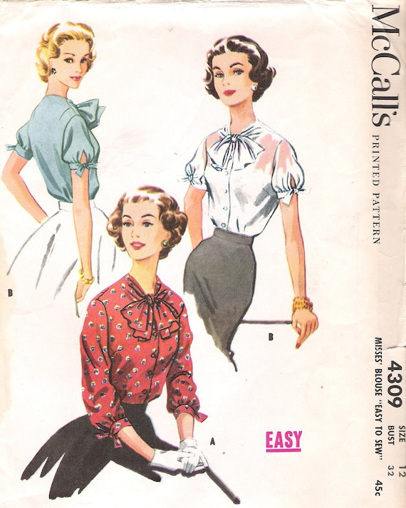 Vintage McCall's 4309 Sewing Pattern 1950s Lovely Blouse with Neck Bow and Full Sleeves Size 12