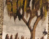 ACEO Original acrylic Painting Tree weeping fall abstract Yart Sale OOAK