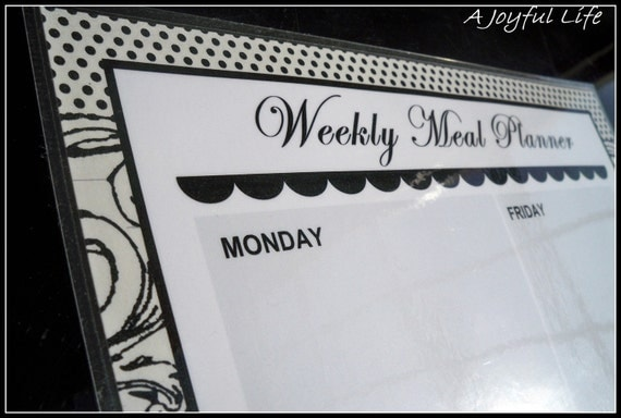 Weekly Menu Planner Black and White Polka Dots and Flourished All in One