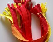Destash - Assorted zippers - Red, Orange and Yellow
