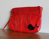 Splash - VINTAGE red PURSE with hand painted whale